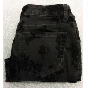 Jones New York Black Velvet Burnout Slimming Jeans